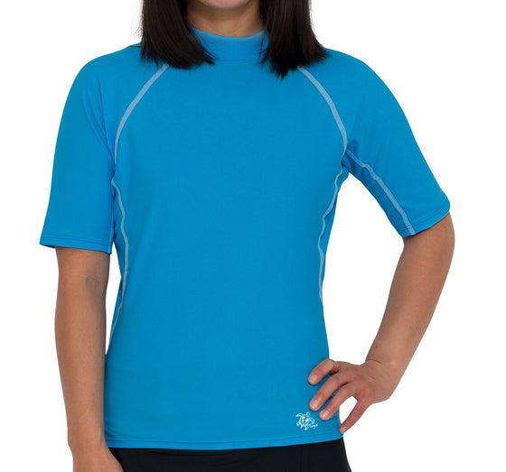 UV50+ Chlorine Resistant Short Sleeve Women's Swim Shirt-Laguna Blue