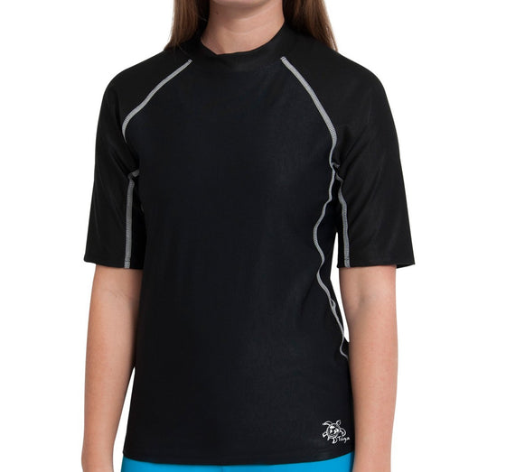 UV50+ Chlorine Resistant Short Sleeve Women's Swim Shirt-Black