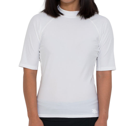 UV50+ Chlorine Resistant Short Sleeve Women's Swim Shirt-White