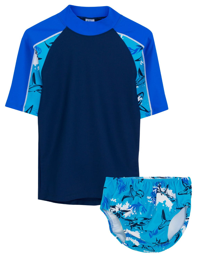 UV50+ Breaker Swim Shirt & Swim Diaper Set-Laguna Blue