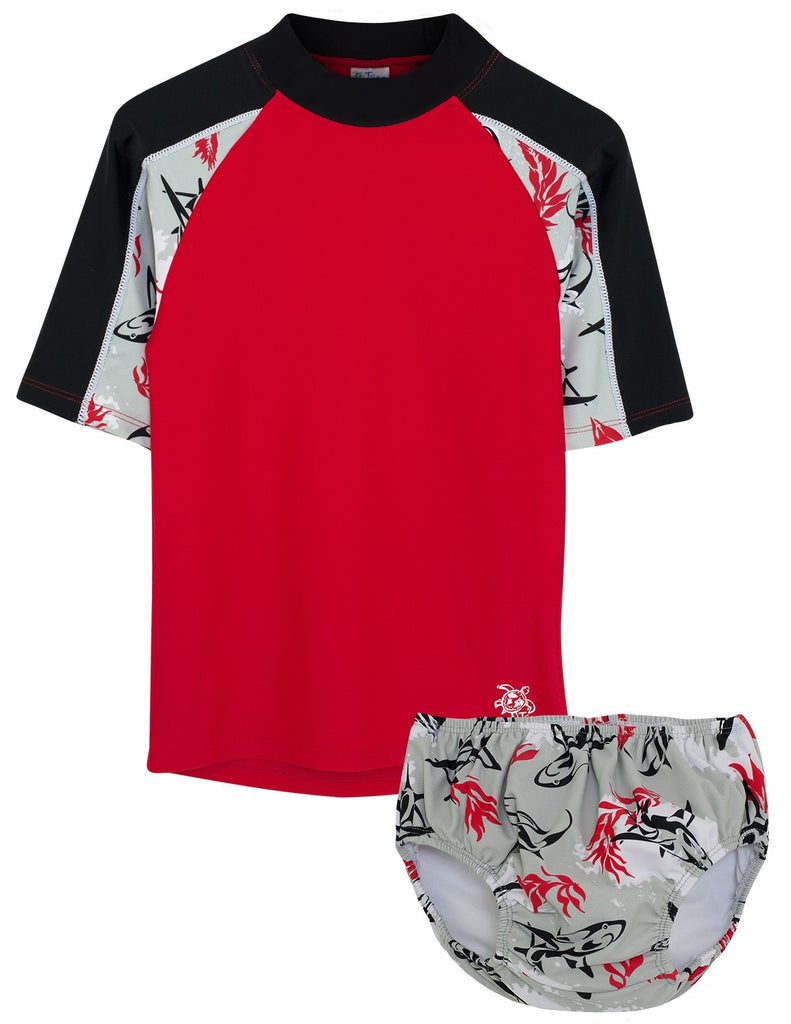 UV50+ Breaker Swim Shirt & Swim Diaper Set-Carminio Red