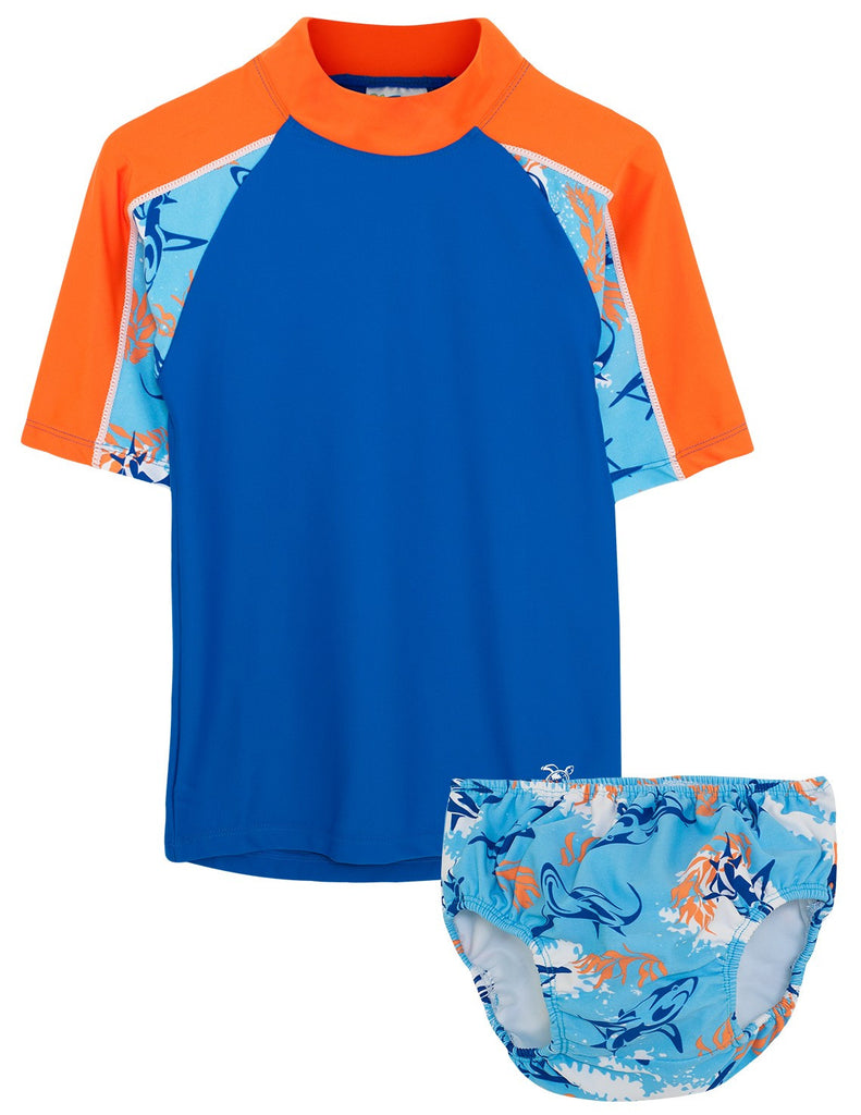 UV50+ Breaker Swim Shirt & Swim Diaper Set-Fuego Royal