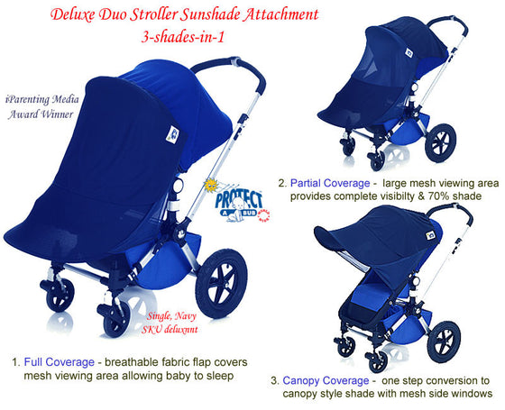 UV DELUXE 3 in 1 SINGLE Stroller Sunshade Attachment