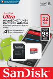 SanDisk Ultra 32GB microSDHC UHS-I card with Adapter - 98MB/s U1 A1 - SDSQUAR-032G-GN6MA
