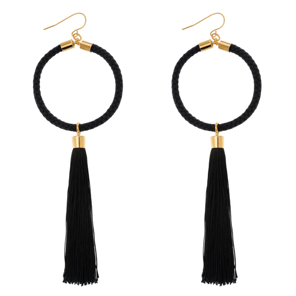 Large Halo Hoop Tassel Earrings