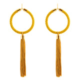 Large Hoop Earrings With Tassel