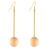 Zahara Asymmetrical Geometric Wood Bead Earrings