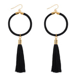 Small Halo Hoop Earrings With Tassel