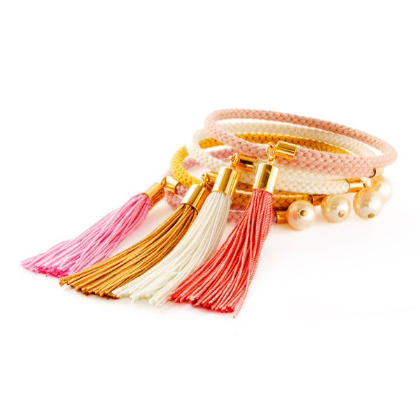 Pearl Tassel Charm Bangle