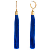 Eclipse Pave Hoop Tassel Earrings