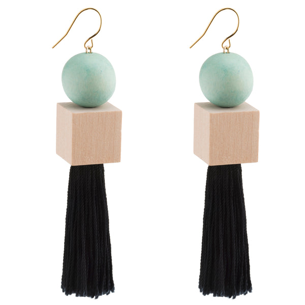 Polaris Turquoise Geometric Tassel Earrings