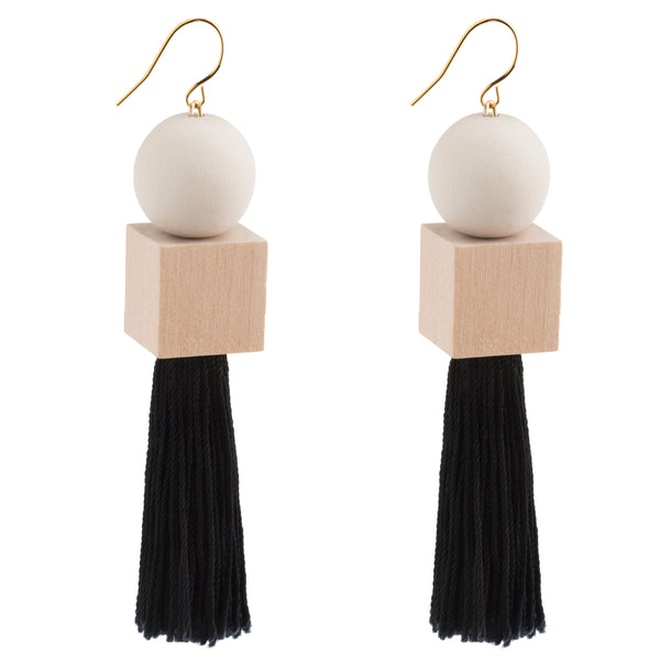 Polaris White Geometric Tassel Earrings