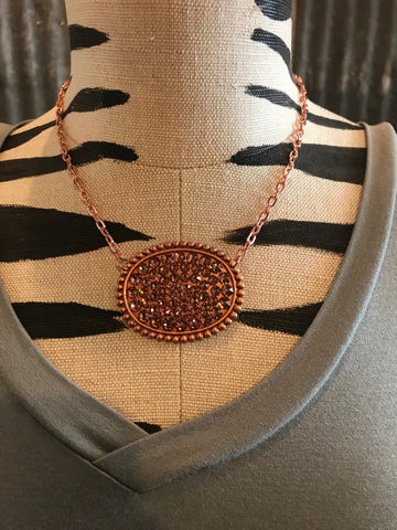 Pink Panache Rose Gold Oval with Blush Crystal Necklace