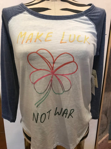 Lucky Brand Make Luck Not War Baseball Tee