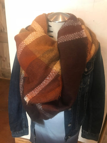Rust Plaid Blanket Scarf Rust