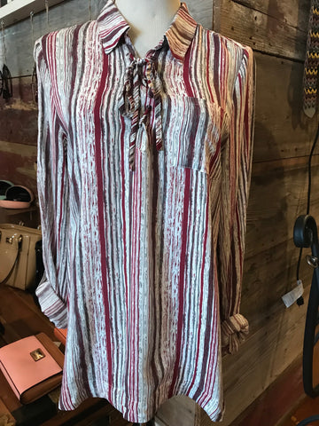Dear John Bailey Lace Up Stripe Shirt Small