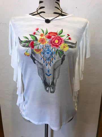 Miss Me Bull Skull Embroidered Top