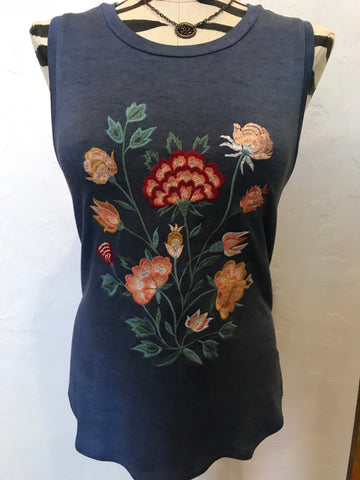 Miss Me Lace Up Back Sleeveless w/Embroidered Flowers