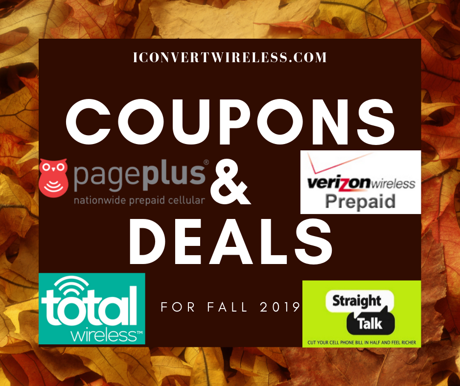 🍂Fall 2019 Coupons and Deals for Straight Talk, Total Wireless, Pageplus, or Verizon Prepaid