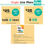 Total Wireless Plans for Single Line -Prepaid Verizon towers