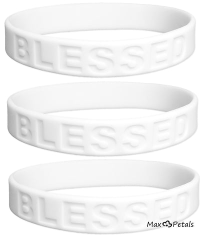 3 Pack - BLESSED Religious Symbol Affirmation Silicone Bracelet Wristbands