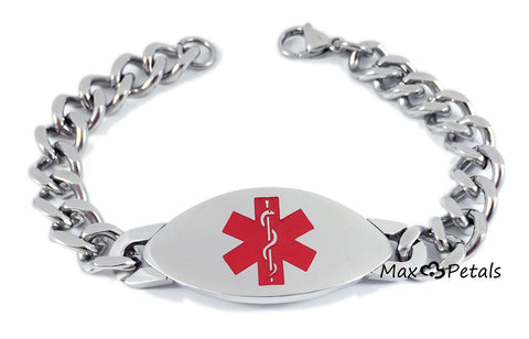 "Max Petals - DIABETES Medical Alert ID Stainless Steel Men's Bracelet with 8"" Chain"