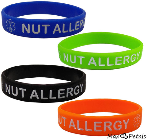 """NUT ALLERGY"" Silicone Wristbands - Blue, green, Orange and Black Kids Size (4 Pack)"