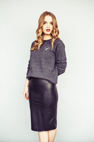 Vegan Leather Skirt/ Eco Black Sweater
