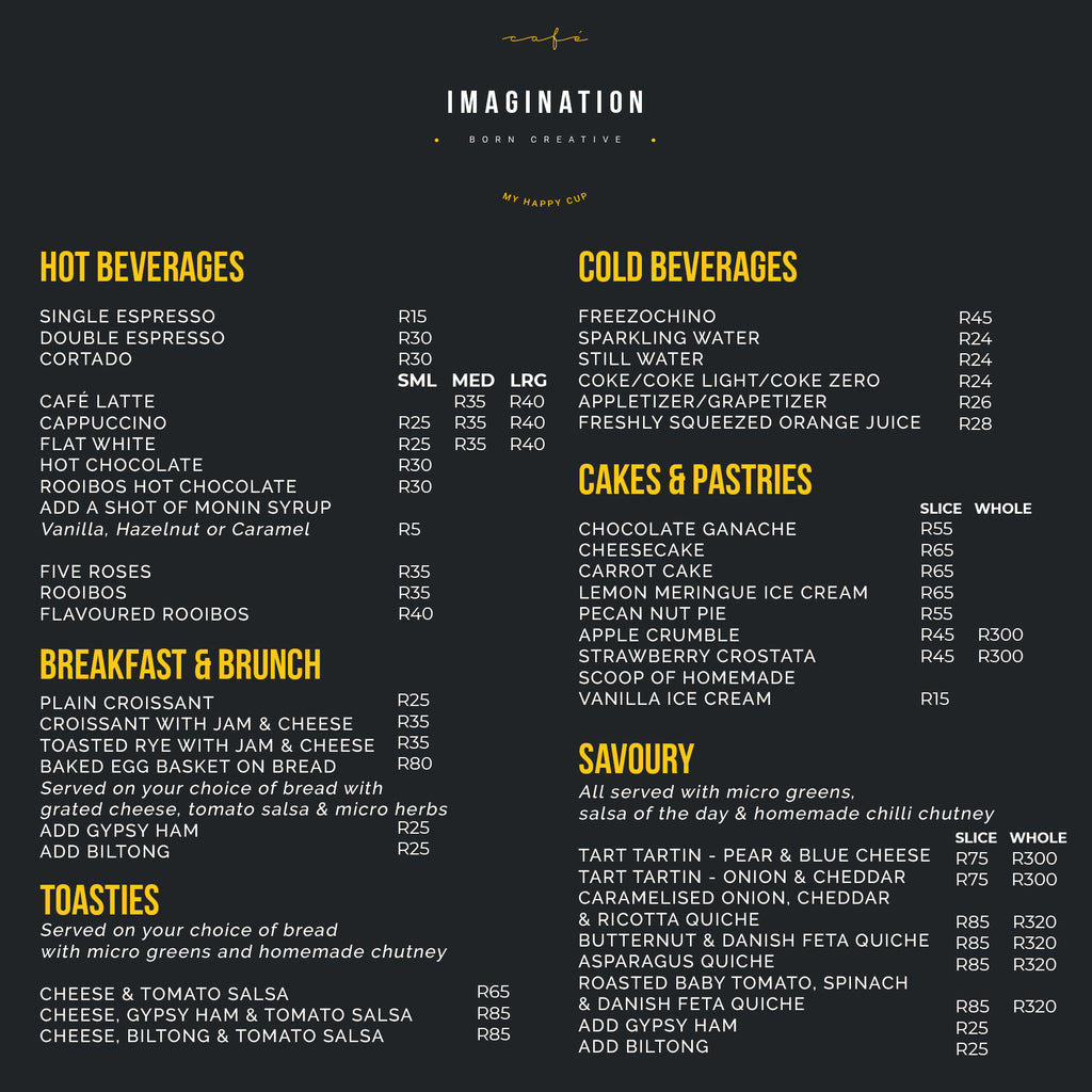 Café Imagination Menu