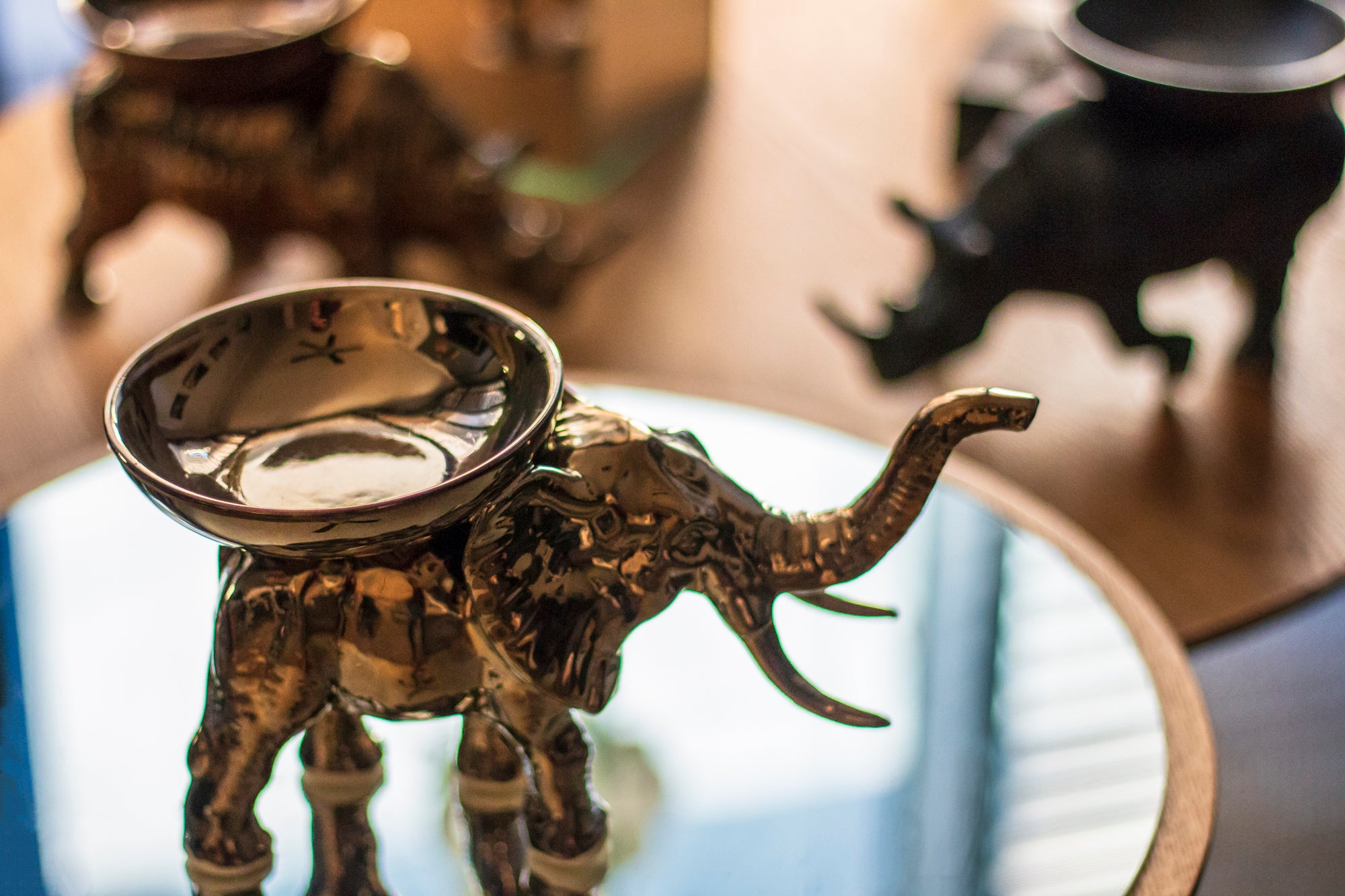 ELEPHANT WITH BOWL CANDLE HOLDER