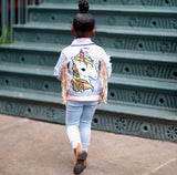 Unicorn fringe denim jacket