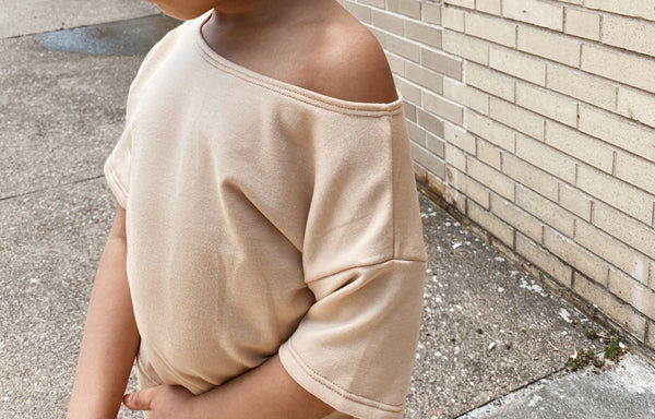 Nude Color-  Off Shoulder Short Set