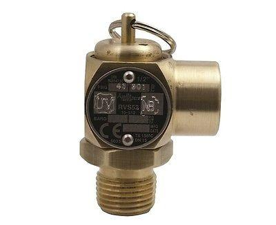 "1"" Male x 1"" Female, ASME Low Pressure Steam Safety Valve, Set 5 PSIG, Bronze"
