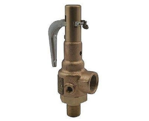 "Apollo ASME Steam Safety Valve, 1 1/4"" Male x 1 1/4"" Female,  Set 15 PSIG"