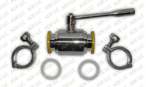 "2"" Ball Valve Kit with Silicone Gaskets and Tri Clamps"