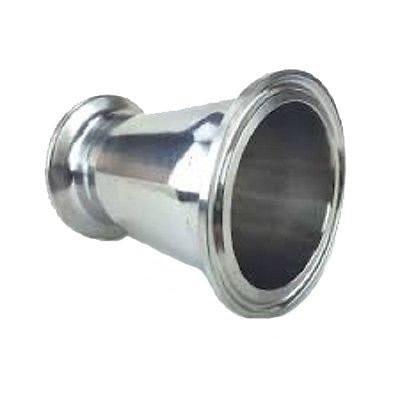 "3"" to 2"" Tri Clamp, Tri Clover, Sanitary, Concentric Reducer, 304 Stainless Steel"
