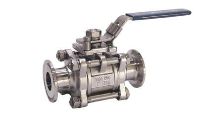 "1"" Bore 3-Piece Ball Valve with 1.5"" Tri Clamp Fittings, Stainless Steel 316 - Emerald Gold"