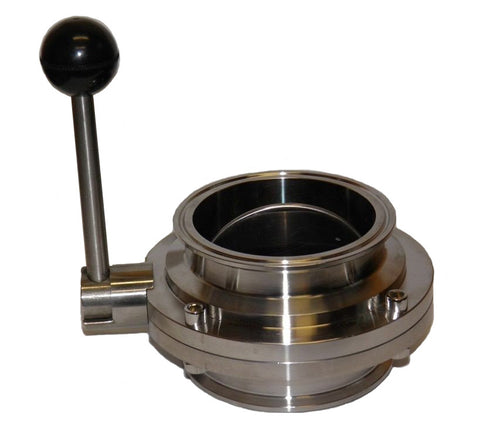 1 Bore Sanitary Butterfly Valve with 1.5 Tri Clamp Fittings and Pull Handle