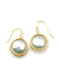 Open Circle with Large Pearl Earrings
