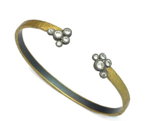 Open Silver and Gold Bracelet with Diamonds