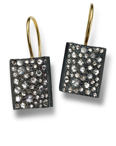 Oxidized Rectangular with Inverted Diamonds Earrings