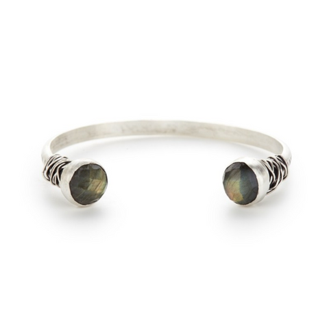 Etch Open Sterling Bangle with Faceted Labradorite End Caps