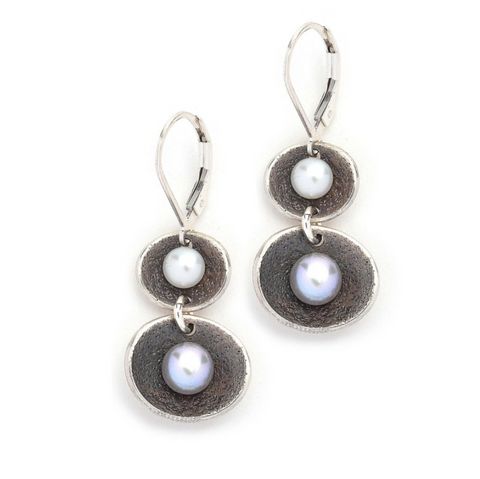 Oxidized Sterling Double Drop Pearl Earring