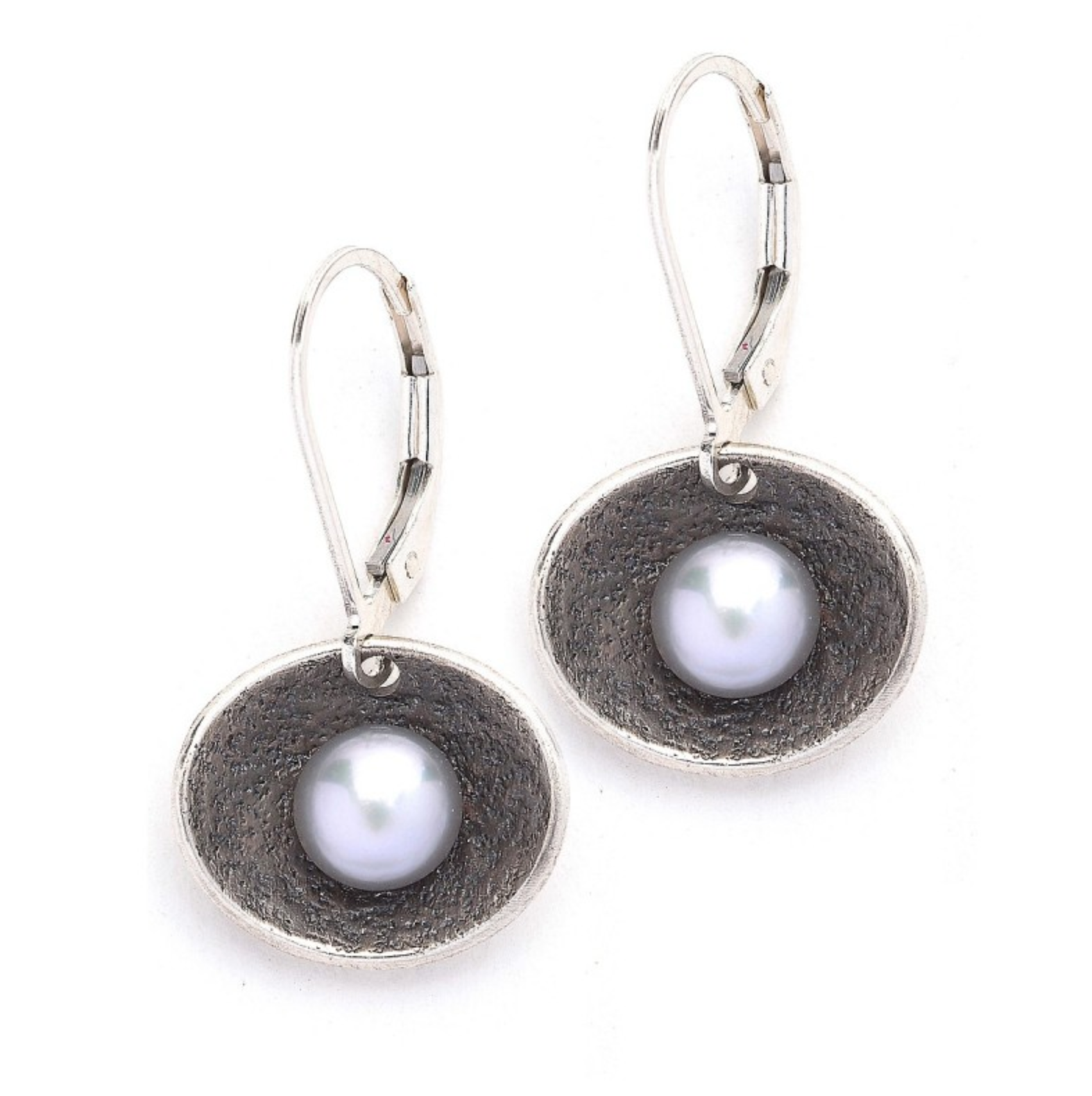 Oxidized Sterling Oval Earring with Grey Pearl