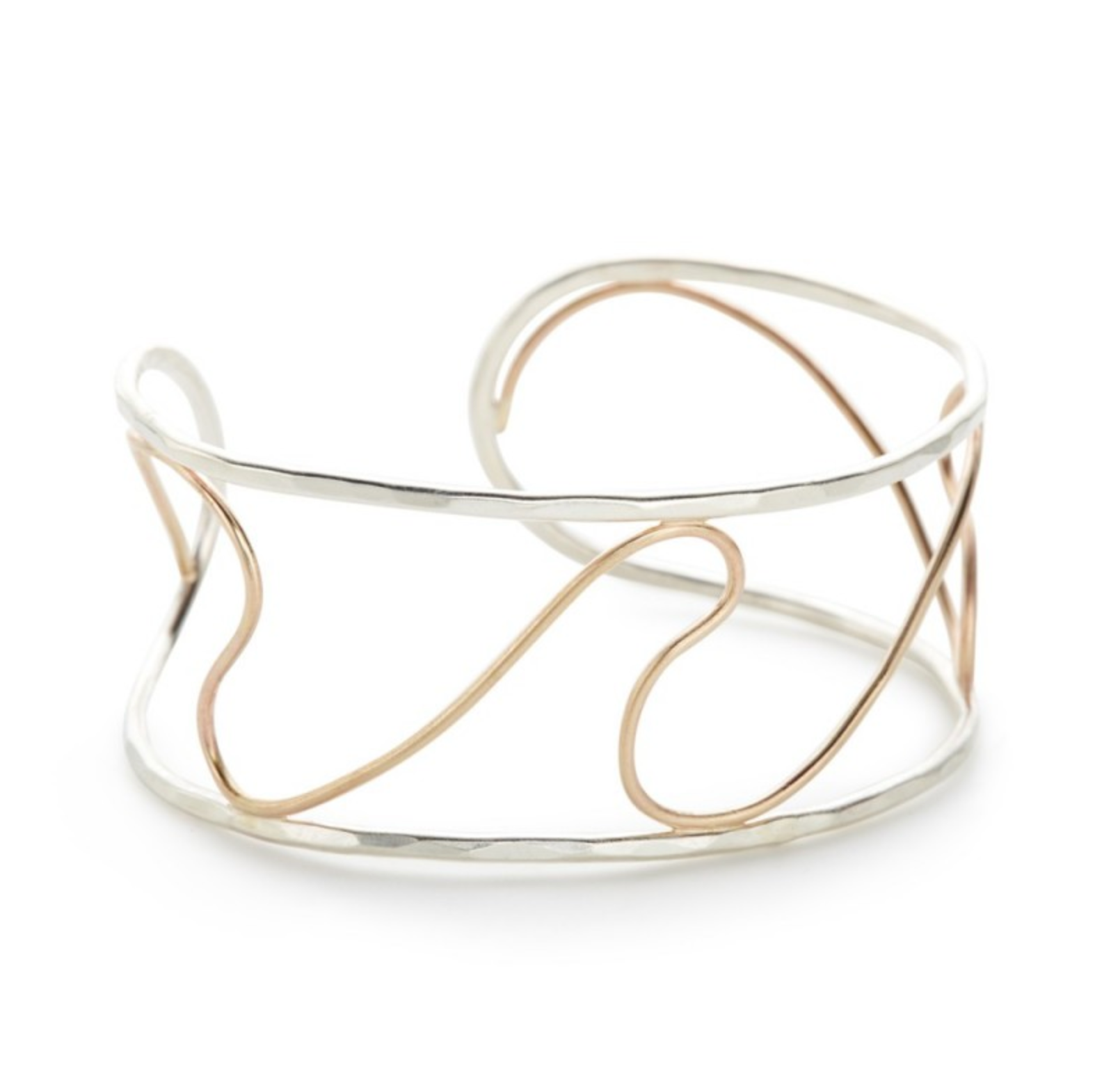 Sterling and Gold Fill Open Wave cuff
