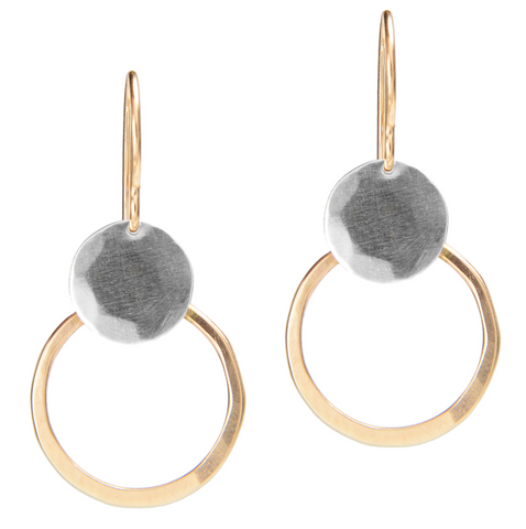 Gold Filled Loop and Silver Disc Earring