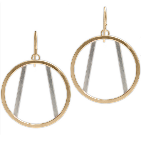 Gold Filled Circle Earrings with Divergent Silver Lines