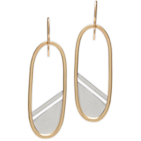 Gold Filled Oval Earrings with Slant Silver