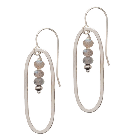 Open Silver Circle with Labradorite Beads Earrings