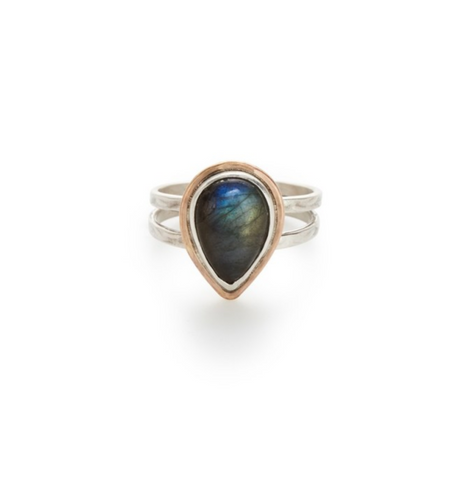 Gold Fill and Sterling Bezel Teardrop Labradorite Double Band Ring